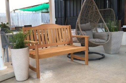 ספסל עץ טיק + ריפוד