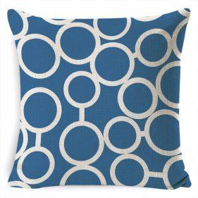 כרית נוי בד סנברלה כחול עיגולים