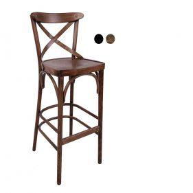 כסא בר עץ למסעדה - דגם X