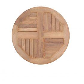פלטת עץ טיק עגולה לשולחן