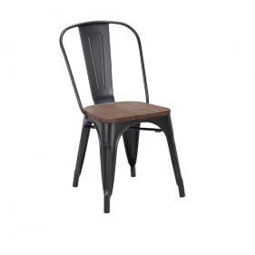 כסא אלומיניום דגם סנדי מושב עץ